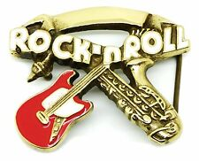 Music Belt Buckle Rock n Roll Guitar & Saxophone Solid Brass Authentic Baron