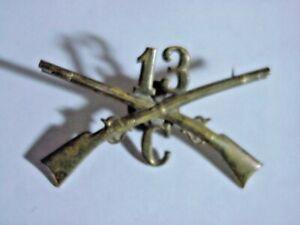 SPANISH AMERICAN WAR 13th Infantry Reg Company C CROSSED RIFLES HAT BADGE