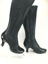 CLARKS Black Leather Knee High Boots Victorian Spats Style Mid Kitten Heel UK 5