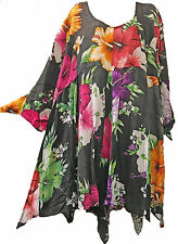 Nwt FUNKY STUFF floral patch hanky hawaiian rayon TOP TUNIC DRESS 6X Free shipp