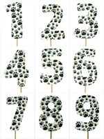 "BLACK PAW Print Design Birthday NUMBER Cake Topper 5.5"" Tall Choose Number"