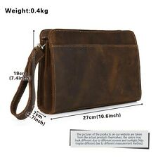 Men Clutch bag Handbag Tote Wallet Purse Leather Business Casual Zipper Gift