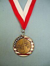 Music notes enameled medal award red and white neck drape