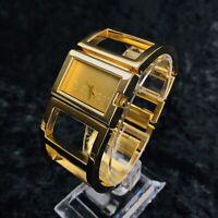 Designer Morgan Gold Watch Women's  Bangle Wrist Watch New Battery Spare Link