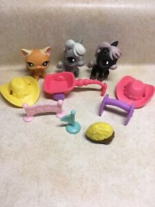 Littlest Pet Shop LPS RACEABOUT RANCH #525 CAT #523 HORSE #524 HORSE Preowned