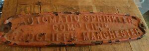 Antique Sign Cast Iron Factory Plate Original
