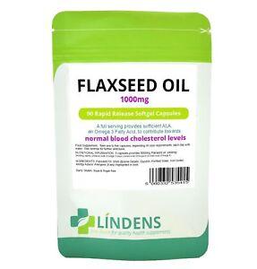 Flaxseed Oil 1000mg Capsules (90 pack) omega 3 6 9 flax seed Lindens