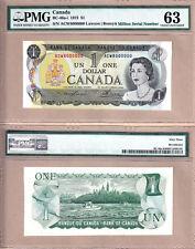 1973 $1 Bank of Canada Multi Color Million Serial# Note 8000000 PMG CH UNC63 EPQ