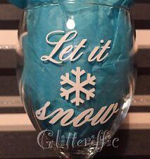 x10 LET IT SNOW Vinyl Decal Sticker DIY Christmas Glitter Wine Glass