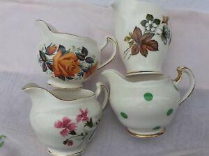 Vintage China Milk Jugs x 4 Wedding Tea Party