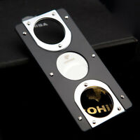 COHIBA Black Silver Tone Stainless Steel Two Blades Cigar Cutter Cigar Scissors