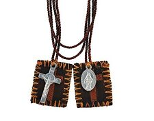Brown Scapular With Medal And Crucifix (YC372) NEW