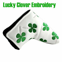 Green Lucky Clover Leather Golf Blade Putter Cover Headcover for Scotty Camron