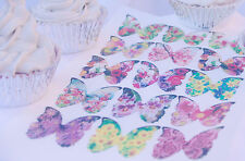 Butterfly Cake Topper 20pc Edible Flower Print Rose Iris Princess Mother Beauty