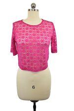 Cotton On Brand Crop Top XS Fuchsia Pink Sheer Floral Mesh Short Sleeve Summer