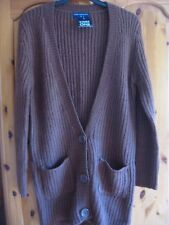 NEW WOMEN'S KNITTED RIB CARDIGAN BROWN GINGER CHUNKY STORE 21 SIZE EUR 38 UK 10