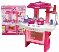 "Deluxe Pink  Beauty Kitchen Appliance Cooking Play Set 24"" w/ Lights and Sound"