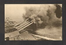 POSTCARD:  16-INCH GUNS OF H.M.S. NELSON FIRING - BRITISH NAVY WW-2 BATTLESHIP