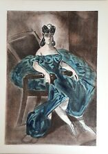"Constantin Guys ""Portrait of a woman"" (Blue dress) Lithograph from Verve 1939"