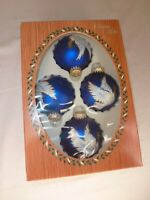 Christmas by Krebs Glass Ornaments, Set of 4, New NRFB, Royal Velvet with Dove
