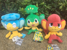 "Takara Tomy Pokemon Plush Doll 8"" Pansage/Panpour/Pansear 3pcs Set New"