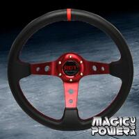 Black/Red 350mm 6-bolt Pattern Deep Dish Red Stitching Steering Wheel For Honda