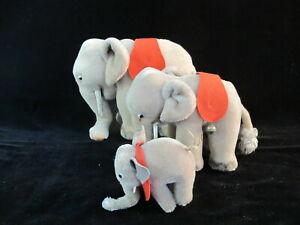 Vintage STEIFF Mohair CIRCUS ELEPHANT Family Set of 3 No Tags