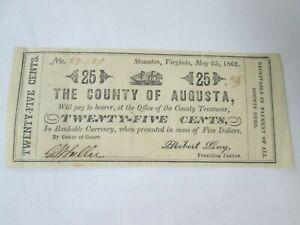 1862, Staunton, Virginia, Civil War Obsolete Script Note, 25 Cents