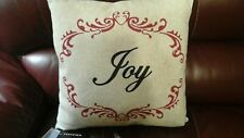 "NWT SAFAVIEH 18"" LINEN RED BLACK CHRISTMAS JOY ACCENT PILLOW FEATHER INSERT"