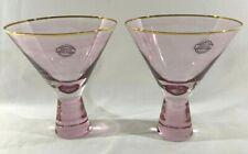 Set of 2 Premium Quality Pink Prism Stem Gold Trim Martini Glasses, NEW