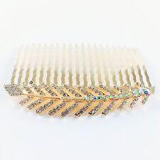 USA Hair Comb Hairpin use Swarovski Crystal Elegant Charming Leaf Gold Z26