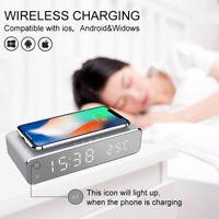 Multifunction LED Alarm Clock Wireless Charger Desktop Digital Thermometer
