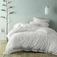 Savannah White Quilt Doona Duvet Cover set | Bianca | Super soft cotton chenille