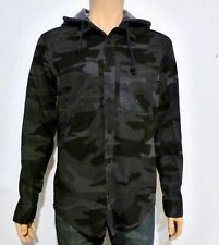 Hollister Men's Hooded Twill Relaxed Fit Shirt Medium M Black Camo RRP £39.00