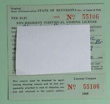Vintage 1966 Minnesota Non-Resident Individual Fishing License.Free Shipping!