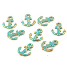10pcs Anchor Bronze Green Charms Beads Pendant DIY Jewelry Making 17*13mm
