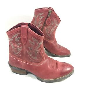 GUC Women's ARIAT Billie Short Ankle Boots Booties Red leather 7 B