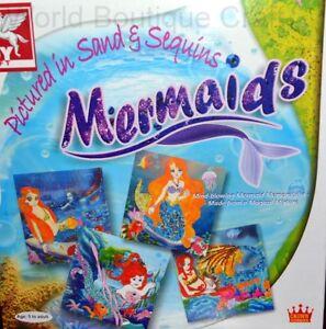 Sequin Art Kit - 4 Mermaid Templates,6 color Sequin,6 Sand Scrapebook Gift DIY