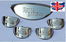 "Royal Enfield motorbike headlight indicator 7"" chrome embossed Shade visor peak"