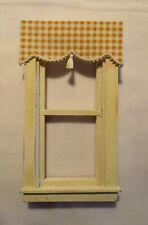 "Dark Yellow/Gold Check Valance Dollhouse Curtains - 3 "" W x 1 1/4 "" L"