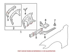 For BMW Genuine Fender Rail Reinforcement Brace Front Left 41107204057