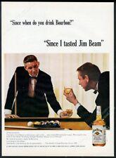 1964 pool table friends photo Jim Beam Bourbon whiskey vintage print ad