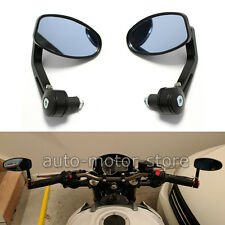 "7/8"" Aluminum Rear View Side Mirrors Handle Bar End Oval Black For Motorcycle"