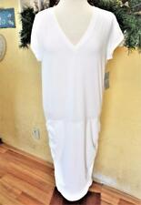 NEW Athleta Womens LT Tall V Neck Tee Dress Fitted Stretch Knit Cap Sleeve White