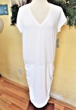 NEW Athleta LT Tall V Neck Tee Dress White Cap Sleeve T Shirt Knit Style Stretch