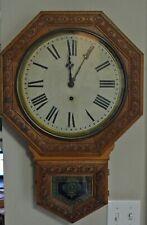 """E.N. WELCH """"GENTRY"""" SCHOOLHOUSE CLOCK ~ CIRCA 1900"""