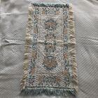 reversible pastel floral woven accent rug vintage fringe edge EUC 1.5x3ft app