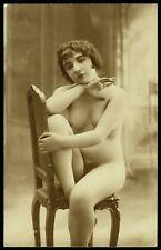 Original 1910 French Postcard Photo Nude Girl Posing Jean Agelou