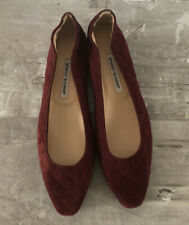 Manolo Blahnik Burgundy Suede Loafers Flats women shoes sz 41.5  New Never Worn