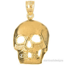 New 14k Yellow Gold Skull Pendant